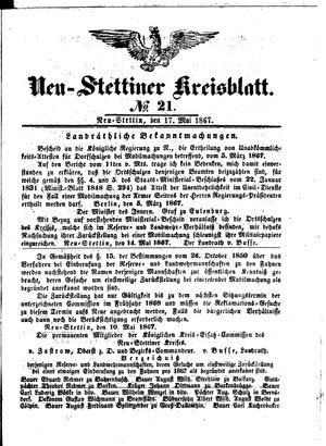 Neustettiner Kreisblatt vom 17.05.1867