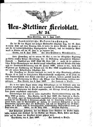 Neustettiner Kreisblatt vom 07.06.1867