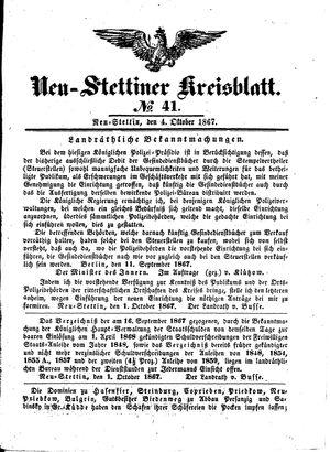 Neustettiner Kreisblatt on Oct 4, 1867