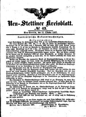 Neustettiner Kreisblatt vom 11.10.1867