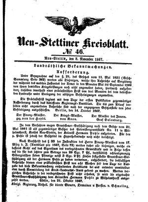 Neustettiner Kreisblatt vom 08.11.1867