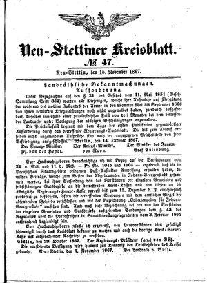 Neustettiner Kreisblatt vom 15.11.1867