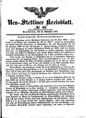 Neustettiner Kreisblatt vom 29.11.1867