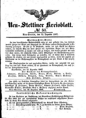 Neustettiner Kreisblatt vom 13.12.1867