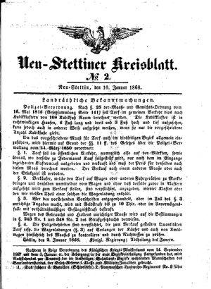 Neustettiner Kreisblatt vom 10.01.1868