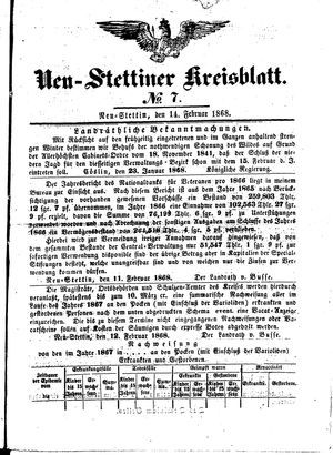 Neustettiner Kreisblatt vom 14.02.1868