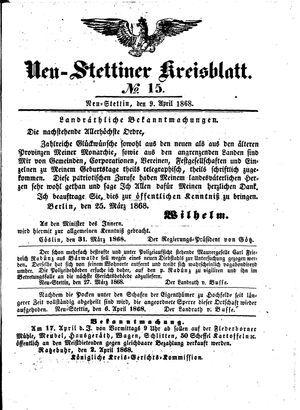 Neustettiner Kreisblatt on Apr 9, 1868