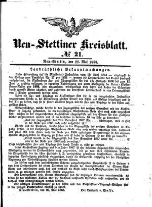 Neustettiner Kreisblatt vom 22.05.1868