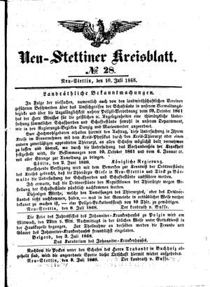 Neustettiner Kreisblatt vom 10.07.1868