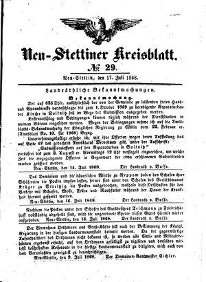 Neustettiner Kreisblatt vom 17.07.1868