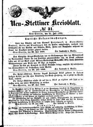 Neustettiner Kreisblatt vom 31.07.1868
