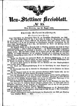 Neustettiner Kreisblatt vom 28.08.1868