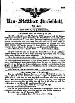 Neustettiner Kreisblatt vom 02.10.1868