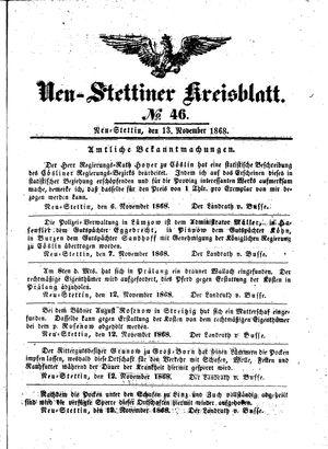 Neustettiner Kreisblatt vom 13.11.1868