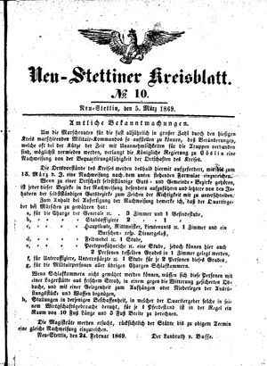 Neustettiner Kreisblatt on Mar 5, 1869