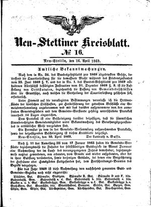 Neustettiner Kreisblatt vom 16.04.1869