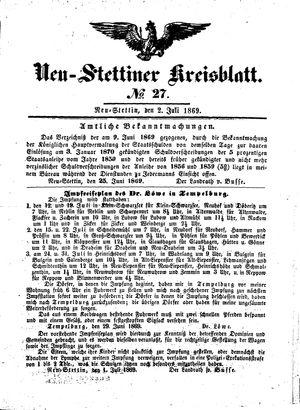 Neustettiner Kreisblatt vom 02.07.1869
