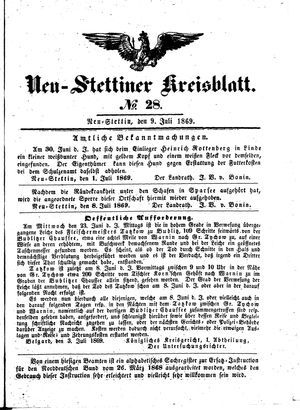 Neustettiner Kreisblatt vom 09.07.1869