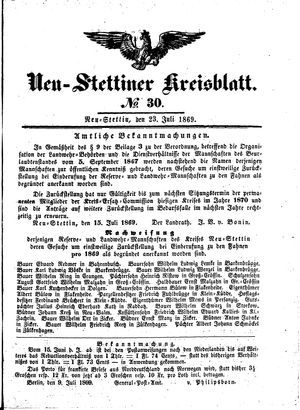 Neustettiner Kreisblatt on Jul 23, 1869
