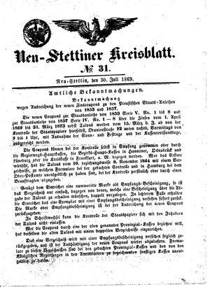 Neustettiner Kreisblatt vom 30.07.1869