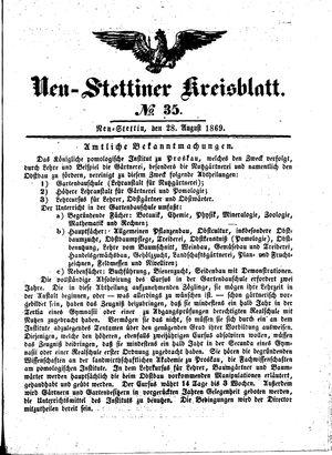 Neustettiner Kreisblatt vom 28.08.1869