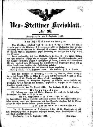 Neustettiner Kreisblatt vom 03.09.1869