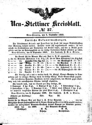 Neustettiner Kreisblatt vom 09.09.1869