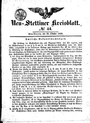 Neustettiner Kreisblatt vom 29.10.1869