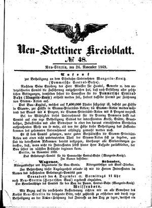 Neustettiner Kreisblatt vom 26.11.1869