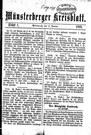 Münsterberger Kreisblatt vom 02.01.1889