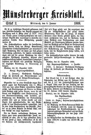 Münsterberger Kreisblatt vom 09.01.1889