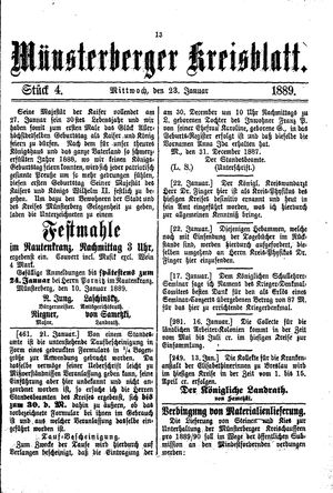 Münsterberger Kreisblatt vom 23.01.1889