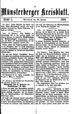 Münsterberger Kreisblatt on Jan 30, 1889