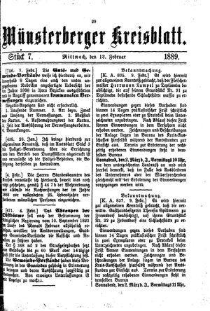 Münsterberger Kreisblatt vom 13.02.1889