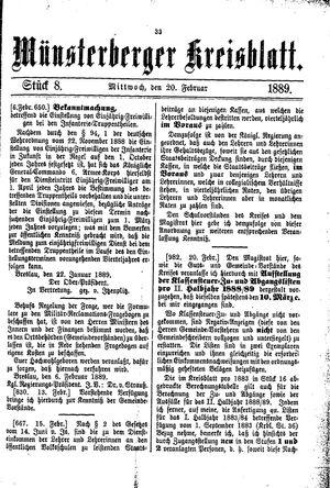 Münsterberger Kreisblatt vom 20.02.1889