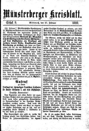 Münsterberger Kreisblatt vom 27.02.1889