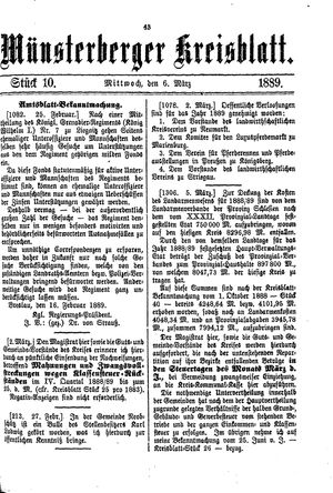 Münsterberger Kreisblatt vom 06.03.1889