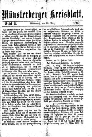 Münsterberger Kreisblatt on Mar 13, 1889
