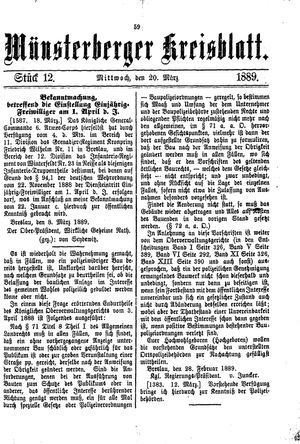 Münsterberger Kreisblatt vom 20.03.1889