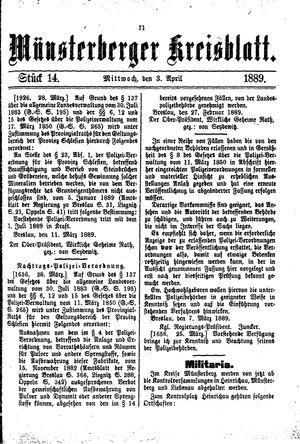 Münsterberger Kreisblatt vom 03.04.1889