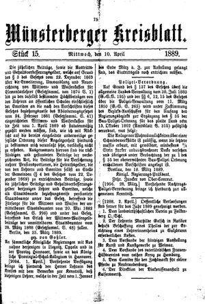 Münsterberger Kreisblatt on Apr 10, 1889