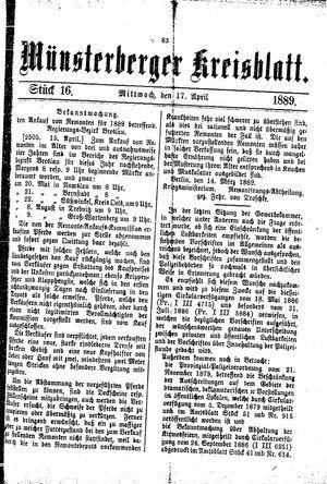 Münsterberger Kreisblatt vom 17.04.1889