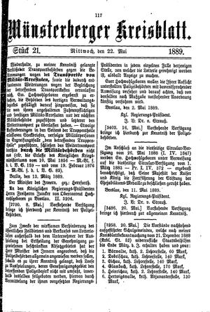 Münsterberger Kreisblatt vom 22.05.1889