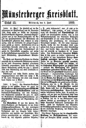 Münsterberger Kreisblatt vom 05.06.1889