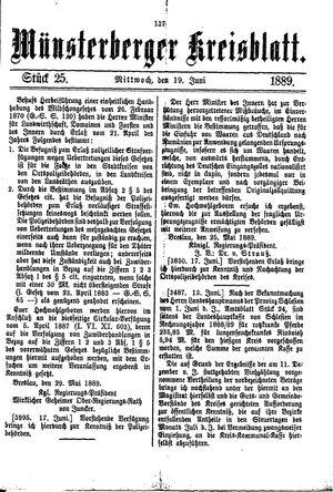 Münsterberger Kreisblatt vom 19.06.1889
