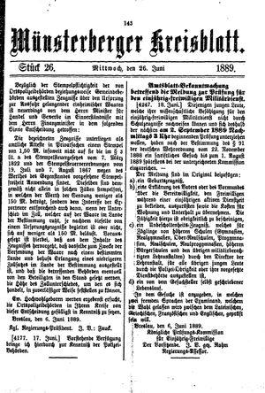 Münsterberger Kreisblatt vom 26.06.1889