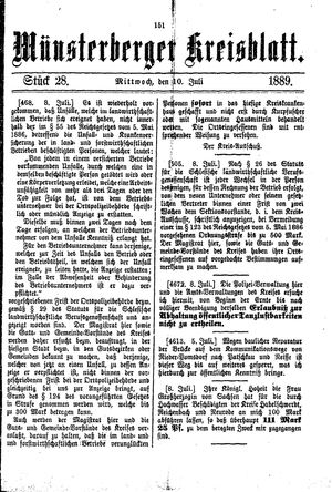 Münsterberger Kreisblatt vom 10.07.1889
