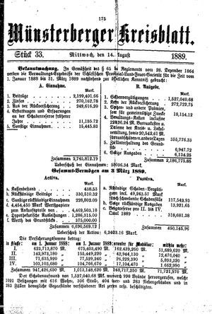 Münsterberger Kreisblatt vom 14.08.1889
