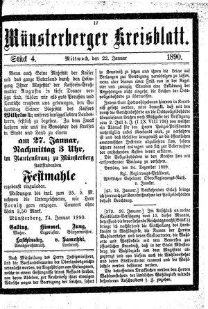 Münsterberger Kreisblatt vom 22.01.1890