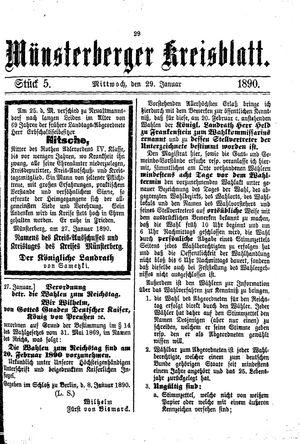 Münsterberger Kreisblatt vom 29.01.1890